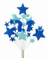 Number age 21st birthday cake topper decoration in shades of blue - free postage